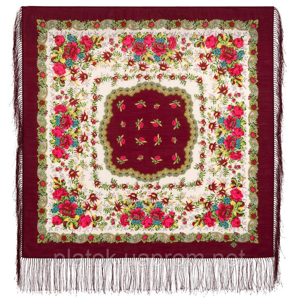 Родной напев 1900-6, павлопосадский платок шерстяной  с шелковой бахромой