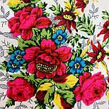 Родной напев 1900-6, павлопосадский платок шерстяной  с шелковой бахромой, фото 7