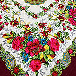 Родной напев 1900-6, павлопосадский платок шерстяной  с шелковой бахромой, фото 6