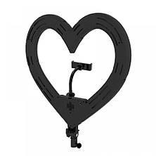 Цветная кольцевая лампа в форме сердц на штативе с держателем для телефона  Кільцева лампа для макіяжу 48ватт, фото 3