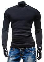 Утепленная черная мужская толстовка без капюшона, фото 1