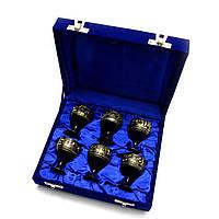 Рюмки бронзовые черные (н-р 6 шт/30мл.)(h-6)(17х19,5х5,5 см)