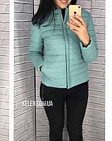 Короткая куртка весна-осень бирюзовая матовая 42-56 размеры