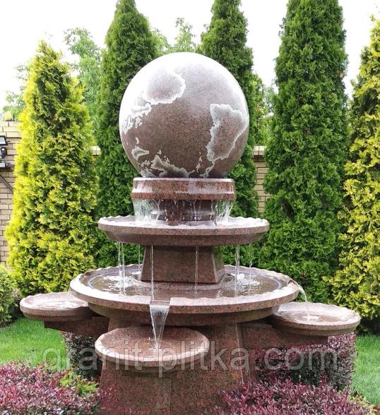 Фонтан  садовый вращающийся шар из натурального камня, Фонтаны для помещений, Фонтан плавающий шар, установка