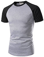 Мужская хлопковая серая футболка с черными рукавами, фото 1