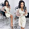 Платье женское с запахом (4 цвета) ЕФ/-492 - Молочный