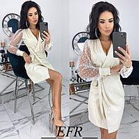 Сукня жіноча з запахом (4 кольори) ЕФ/-492 - Молочний, фото 1