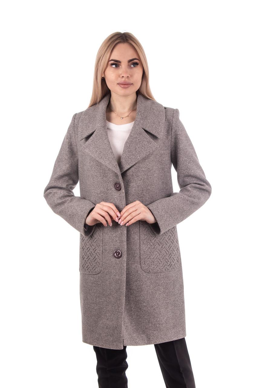 Модное женское демисезонное пальто 42-48 бежевый