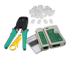 Набор инструментов сетевика обжимка тестер 100 rj45 коннектор ABX