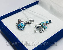 Детские сережки с синими цирконами серебро Love