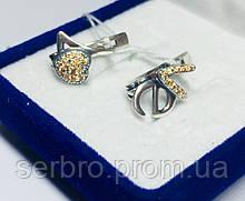 Серебряные сережки с желтыми цирконами Love
