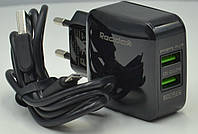 Сетевое зарядное устройство зарядка REDDAX-RDX-25 2.4 A на 2USB с кабелем Tipe-C, black