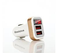 Автомобильное зарядное устройство вольтметр Reddax RDX-105 2.4 A с кабелем для iPhone, white gold