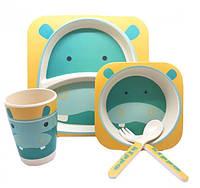 Набор детской бамбуковой посуды Stenson MH-2770-28 5 предметов, бегемот