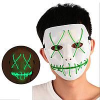 Неоновая Маска для вечеринок с подсветкой LED Mask 1 Green