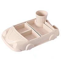Детская бамбуковая посуда Машинка, набор из 2-х тарелок и чашки BP19 Car Pink