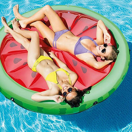 """Платформа надувная для отдыха на воде Intex 56283 """"Арбуз"""" 183x23 см круглый плот, фото 2"""