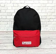 Новинка! Молодежный рюкзак суприм, Supreme. Черный с красным. Vsem