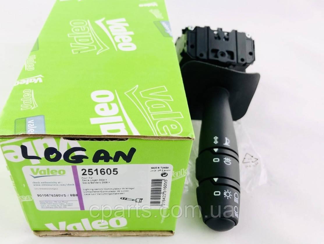 Подрулевой переключатель света (без ПТФ) Dacia Logan (Valeo 251605)(высокое качество)