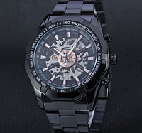 Механические мужские часы Winner чёрные качество превыше всего