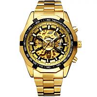 Механические мужские часы Winner желтые качество превыше всего