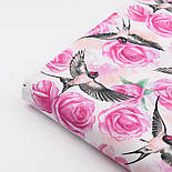 """Ткань хлопковая """"Ласточки и розы"""" розовые на белом (№2216), фото 4"""