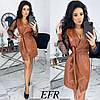 Платье женское с запахом (4 цвета) ЕФ/-492 - Коричневый