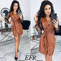 Платье женское с запахом (4 цвета) ЕФ/-492 - Коричневый, фото 1