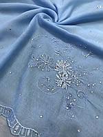 """Голубой хлопковый платок большого размера """"Стазы на вышивке""""- купить на Kosinka.net"""