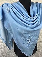 """Голубой хлопковый платок большого размера """"Стазы на вышивке"""" (4), фото 1"""