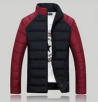Зимняя черная мужская куртка с красными рукавами, фото 1