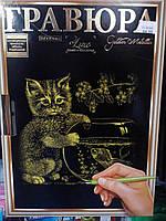Гравюра А4 LUXE з рамкою Кот с рыбкой Золото