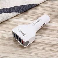 Автомобильное зарядное устройство с быстрой зарядкой Reddax RDX-110 3.5 A на 4 USB с кабелем для iPhone, white