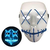 Неоновая Маска для вечеринок с подсветкой LED Mask 1 Blue