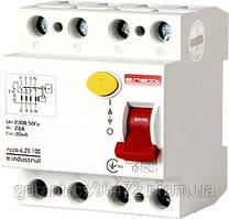 Выключатель дифференциального тока e.industrial.rccb.4.25.100, 4р, 25А, 100мА