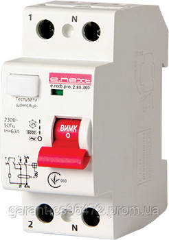 Выключатель дифференциального тока e.rccb.pro.2.80.300, 2р, 80А, 300мА