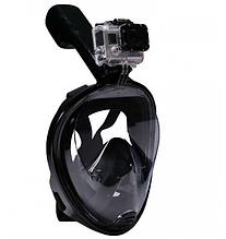 Маска для плавания ныряния снорсклинга Free Breath полнолицевая чёрная