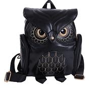 Модный женский рюкзак Сова черный