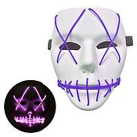 Неоновая Маска для вечеринок с подсветкой LED Mask 1 Violet