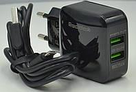Сетевое зарядное устройство зарядка REDDAX-RDX-25 2.4 A на 2USB с кабелем micro-usb, black