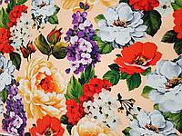 Креп-шелк печатный Букет ткань для одежды, фото 1