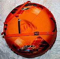 Оранжевый надувной тюбинг ватрушка с автомобилем 100 см