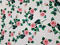 Креп-шовк друкарський Троянда на білому тканину для одягу