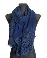 Шарф Есения, кружево, 190*90 см, темно-синий