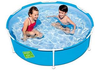 Круглый каркасный бассейн Bestway56283 детский 152х38 см 580 л синий прочный для купания