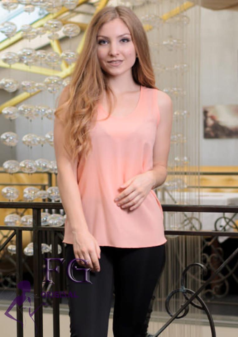 """Модная блуза-майка """"Хулиганка""""  Персиковый 44 р."""
