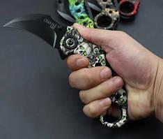 Сувенир Складной Нож Керамбит Soga Trident IL 23 с черепами Серый