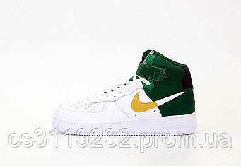 Мужские кроссовки Nike Air Force (зелёно-белые)