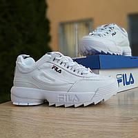Женские кроссовки Fila Disruptor 2, белые с синим, кожаные, в стиле Фила Дизраптор, код OD-2971 40