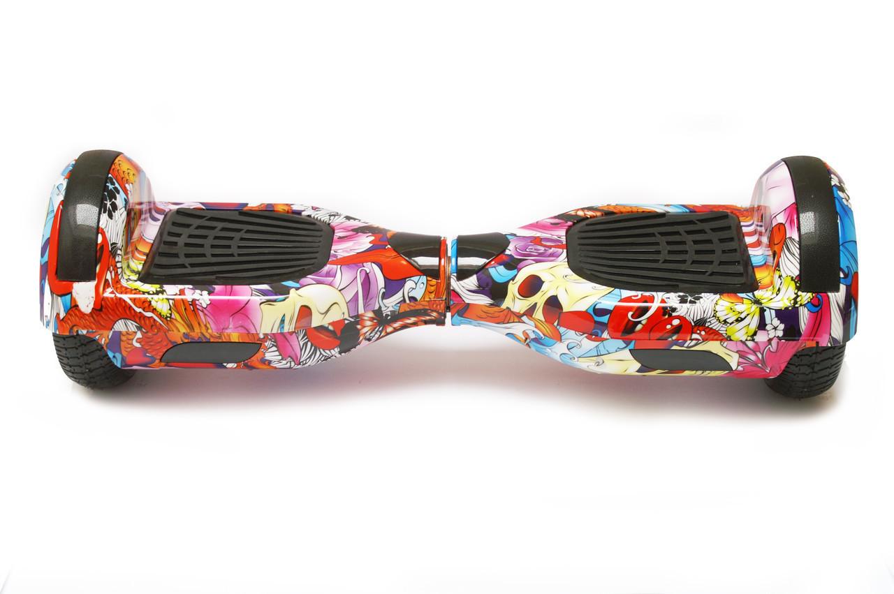 Гироборд 6,5 SmartWay  с Bluetooth и колонками Flowers Graffiti с пультом